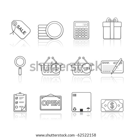 Shopping icon set 22 - Strokes Series.  Vector EPS 8 format, easy to edit.