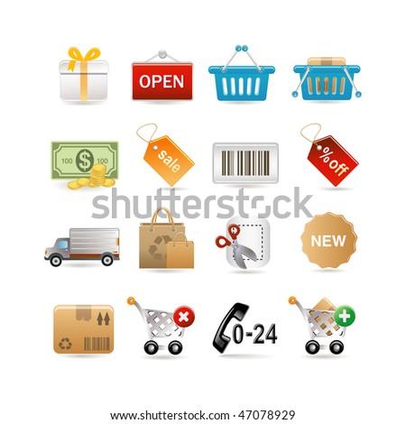 Shopping icon set. Vector illustration