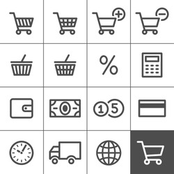 Shopping Icon Set. Vector illustration. Simplines series. Simple outlined icons. Linear style