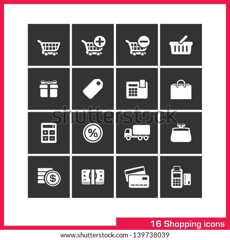 Shopping icon set. Vector white pictograms for web, computer and mobile apps, internet: cart, add, remove, basket, gift box, bag, label, cash, sale, delivery, wallet, purchase, money, and card symbol.
