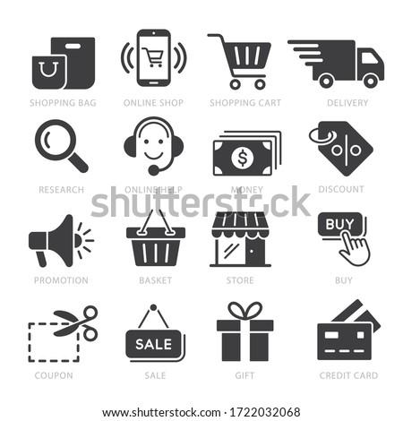 Shopping icon vector illustration set