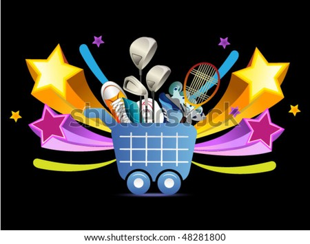 shopping icon with sport goods