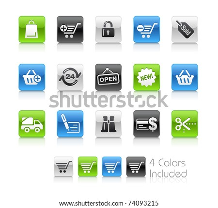 Shopping Icons // Clean Series -------It includes 4 color versions for each icon in different layers --------- - stock vector