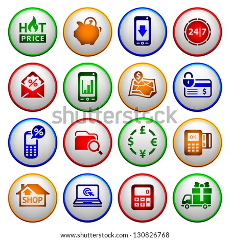 Shopping Icons. Colored round buttons, vector illustration