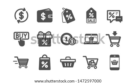 Shopping icons. Gift, Percent sign and Sale discount. Delivery classic icon set. Quality set. Vector