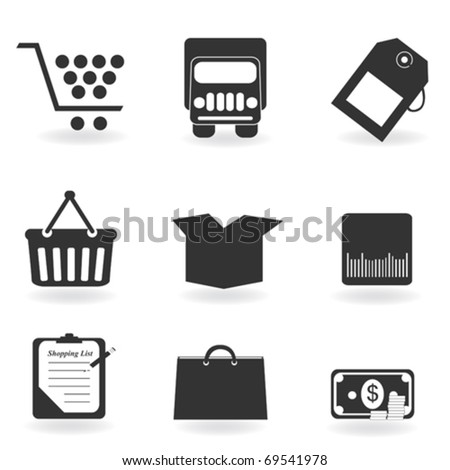 Shopping icons in grayscale silhouette