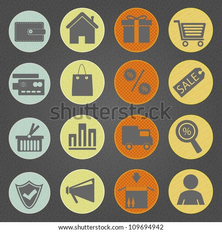 Shopping icons  in vintage style. Eps10 vector.