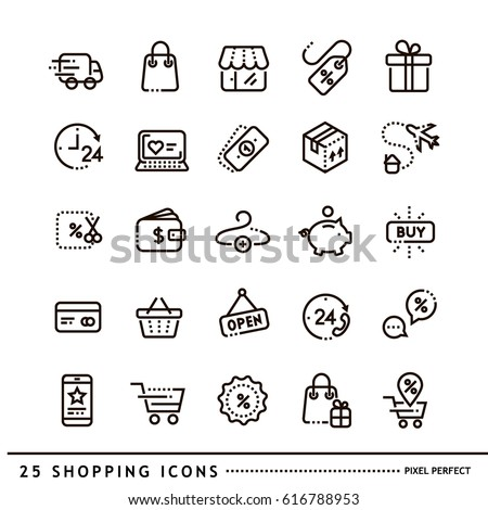 Shopping icons line