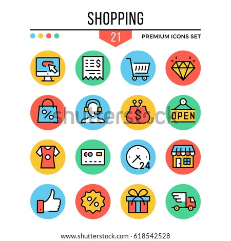 Shopping icons. Modern thin line icons set. Premium quality. Outline symbols, graphic elements, concepts, flat line icons for web design, mobile apps, ui, infographics. Vector illustration