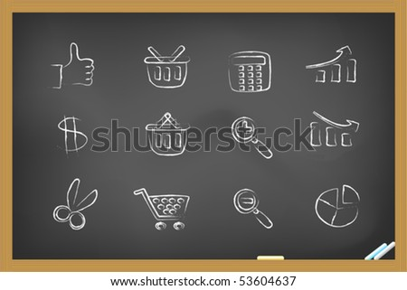 shopping icons on blackboard
