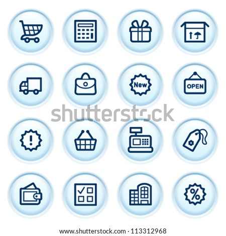 Shopping  icons on blue buttons.