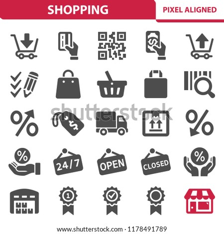 Shopping Icons. Professional, pixel perfect icons, EPS 10 format.