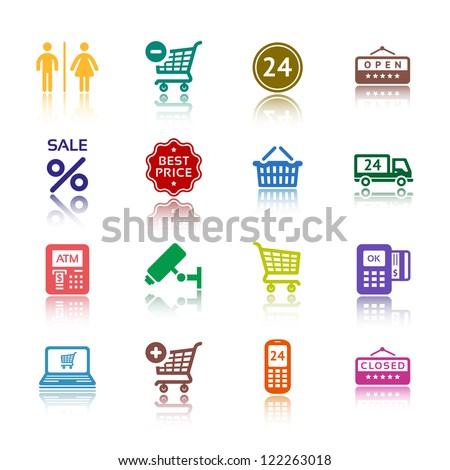 Shopping icons, services supermarket. Set 1 (one), vector illustration, symbols colored with reflection.