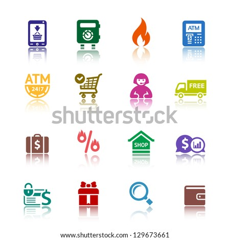 Shopping icons, services supermarket. Set 3 (three), vector illustration, symbols colored with reflection.
