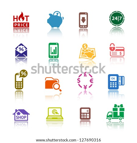 Shopping icons, services supermarket. Set 2 (two), vector illustration, symbols colored with reflection. - stock vector