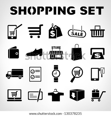 shopping icons set, e commerce set