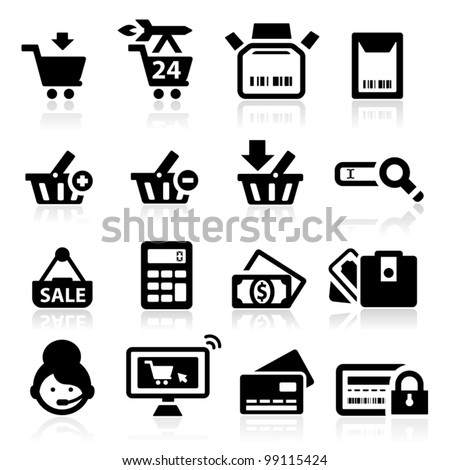 Shopping icons set elegant series - stock vector