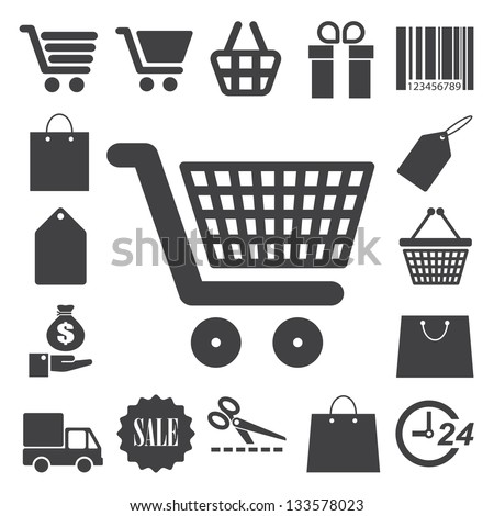Shopping icons set. Illustration eps 10
