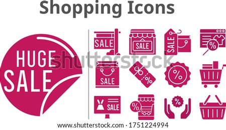 shopping icons set. included online shop, shopping bag, sale, shop, shopping cart, discount, shopping-basket icons. filled styles.
