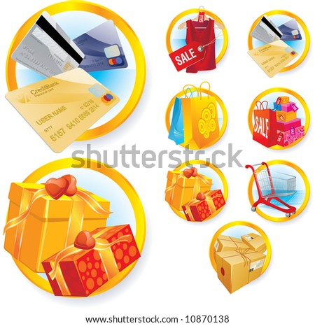 Shopping icons set. Vector.