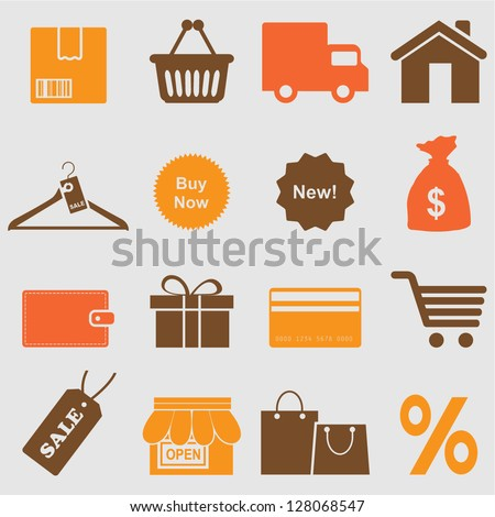Shopping icons set.Vector