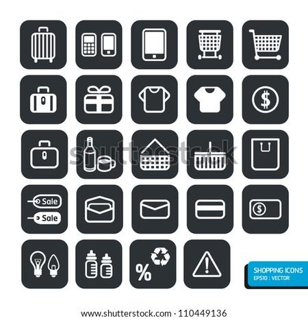 Shopping icons set. Vector design.