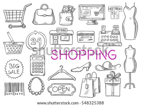 Shopping icons set. Vector shopping items of basket, purse bag, shop counter, dress, atm bank, credit card, store, discount, price, barcode, clothes hanger, shoes, shopping gift box. Fashion items