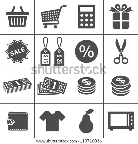 Shopping Icons. Simplus series. Each icon is a single object (compound path)