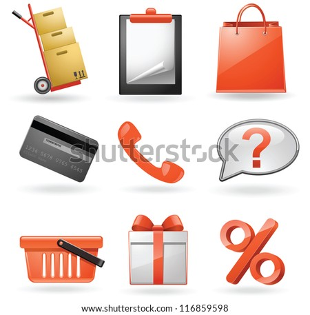 Shopping icons. Vector set