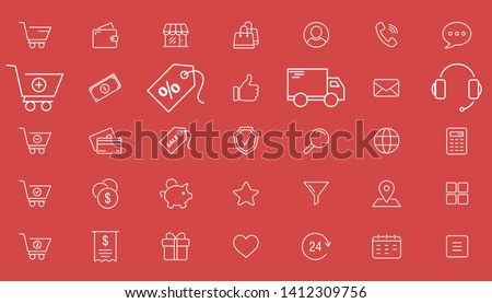 Shopping icons - Vector set outline of online store and e-commerce for the site or interface