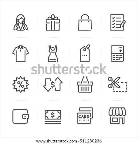 Shopping icons with White Background