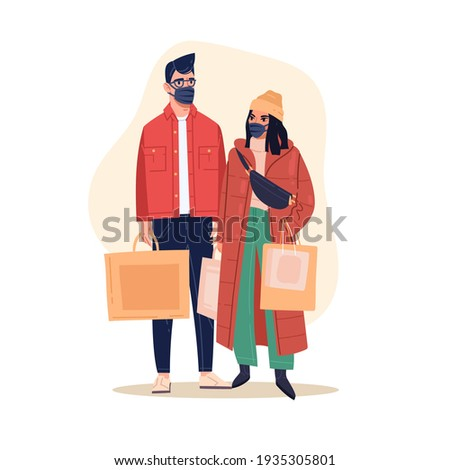 Shopping in mask. Couple in store making purchases in medical masks, people with packages and bags, security measures. Vector concept