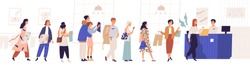 Shopping in store flat vector illustration. Sale, discount, special offer concept. Seller and people standing in queue cartoon characters. Male and female customers isolated on white background.