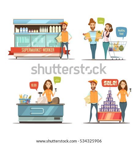Shopping in supermarket retro cartoon icons collection with grocery cart dairy racks and customers isolated vector illustration