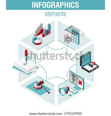 Shopping infographics set, ISOMETRY style design