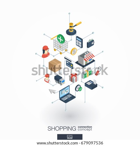 Shopping integrated 3d web icons. Digital network isometric interact concept. Connected graphic design dot and line system. Abstract background for ecommerce, market and online sales. Vector on white.