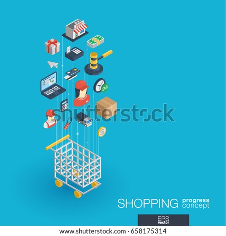Shopping integrated 3d web icons. Digital network isometric progress concept. Connected graphic design line growth system. Abstract background for ecommerce, market and online sales. Vector Infograph