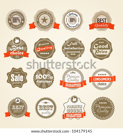 Shopping labels collection. Premium quality, Satisfaction etc