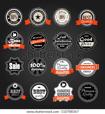 Shopping labels collection. Premium quality, Satisfaction etc on black