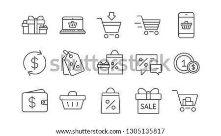 Shopping line icons. Gift, Percent sign and Sale discount. Delivery linear icon set.  Vector