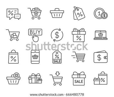 Shopping line icons. Gifts, Presents and Sale offer signs. Shopping cart, Delivery and Tags symbols. Speech bubble, Discount and Wallet. Online buying. Quality design elements. Editable stroke. Vector