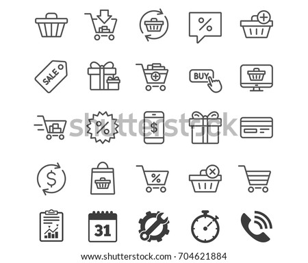 Shopping line icons. Gifts, Presents and Sale offer signs. Shopping cart, Tags and Delivery symbols. Speech bubble, Discount and Credit card. Online buying. Report, Calendar and Service signs. Vector