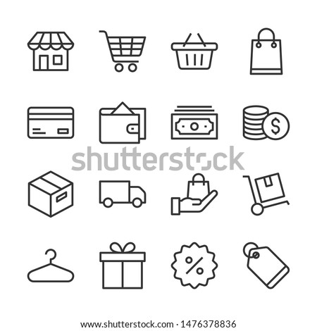 Shopping line icons set vector illustration