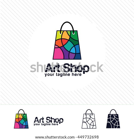 Shopping logo design vector , colorful circle on shopping bag. Abstract concept for online store.