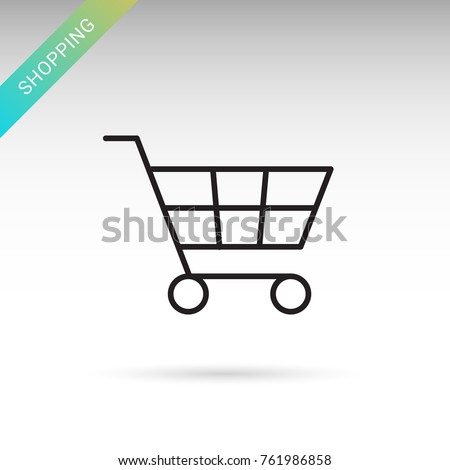 Shopping mall cart thin line isolated vector simple icon