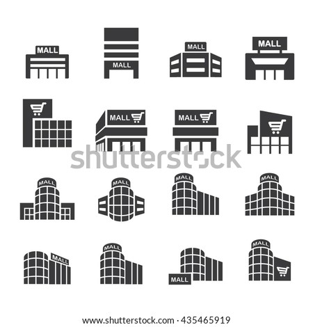 shopping mall icon set.vector .
