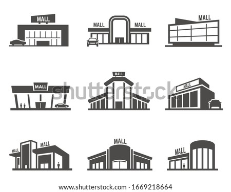 Shopping mall or center icon or symbol set. Collection of facades of modern stores. Bundle of black silhouettes of supermarket buildings. Flat monochrome vector illustration for logo, sign or emblem.