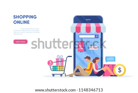 Shopping on mobile. Online store. internet marketing. Online payment. Flat cartoon miniature  illustration vector graphic on white background.