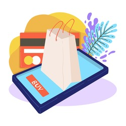 Shopping online and paying for purchases with credit card. Buying items in stores and shops in internet. Bag with bought object, business and commerce for sellers. App for customers, vector in flat