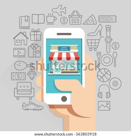 Shopping online business conceptual flat style. Vector illustration. Can be used for workflow layout template, banner, diagram, number options, web design, infographics, timeline.